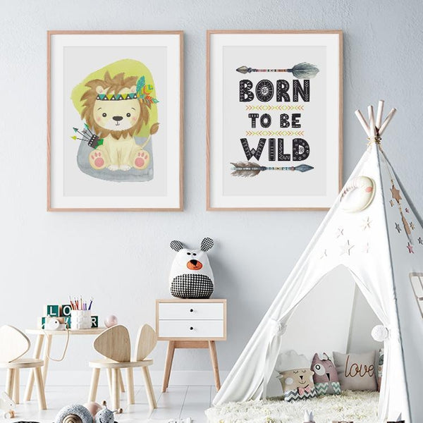 Born To Be wild Tribal Animal Cartoon Nursery Canvas Prints-TipTopHomeDecor