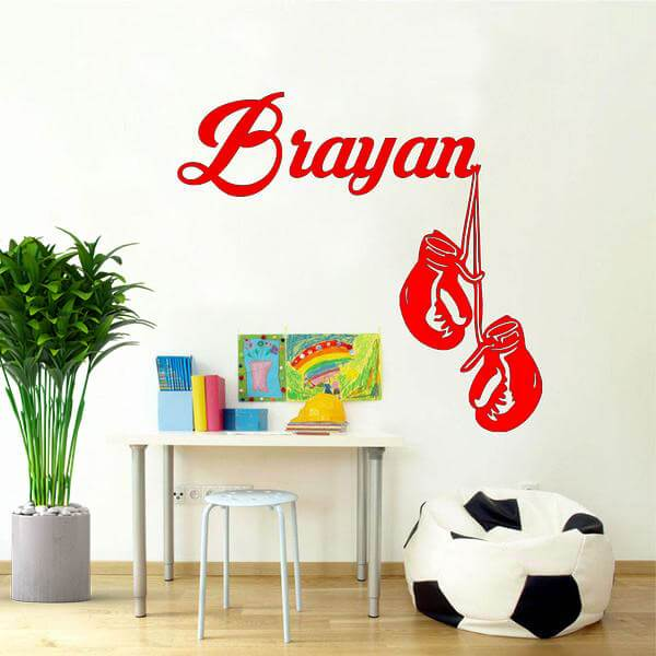 Boxing Gloves Custom Name Wall Sticker-Tiptophomedecor-Interior-Design-Home-Decor