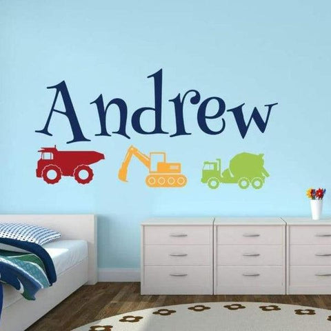 Tiptophomedecor Boys Name Trucks Sticker