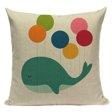 Bright Happy Color Cartoon Animal Pillow Covers-Tiptophomedecor