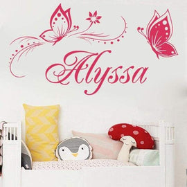 Tiptophomedecor Butterflies Nursery Name Decal