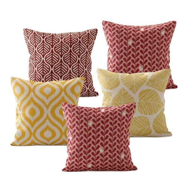 Yellow Red Leaves Cushion Covers-TipTopHomeDecor