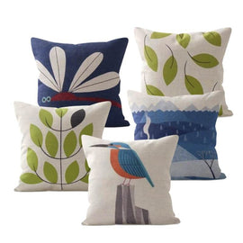 Fish Bird Cartoon Pillow Covers