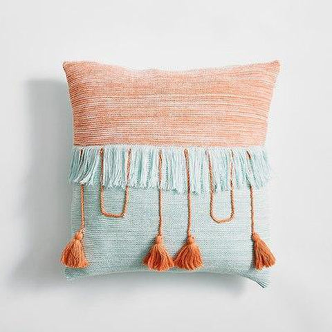 Cable Knitted Tassel Vintage Grey Blue Orange Pillow Cases-Tiptophomedecor-Interior-Design-Home-Decor