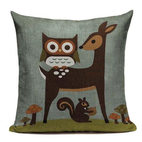 Cartoon Owl Kids Room Cushion Covers Throw Pillow Cases-Tiptophomedecor