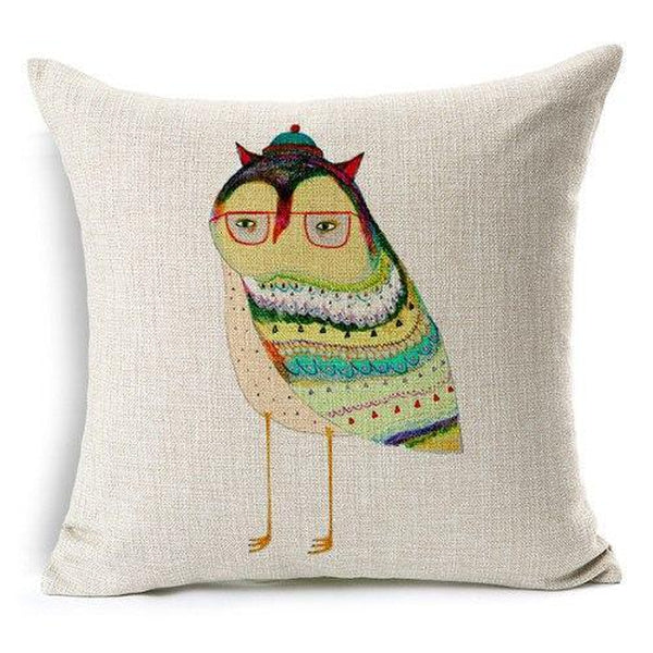 Cartoon Owl Throw Pillow Cushion Covers-Tiptophomedecor-Interior-Design-Home-Decor