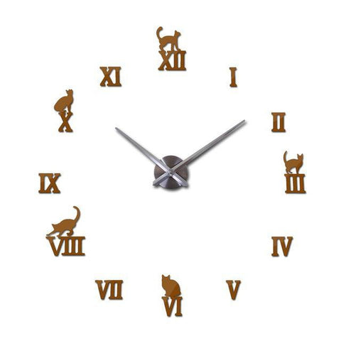 Cat Big 3D Wall Clock Decal-TipTopHomeDecor