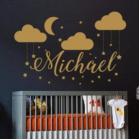 Tiptophomedecor Clouds Moon Name Decal