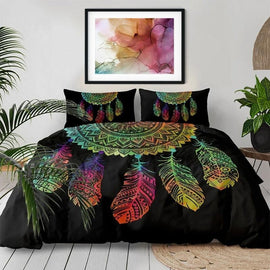 Colorful Bohemian Dream Catcher Mandala Bedding Set Duvet Cover-TipTopHomeDecor