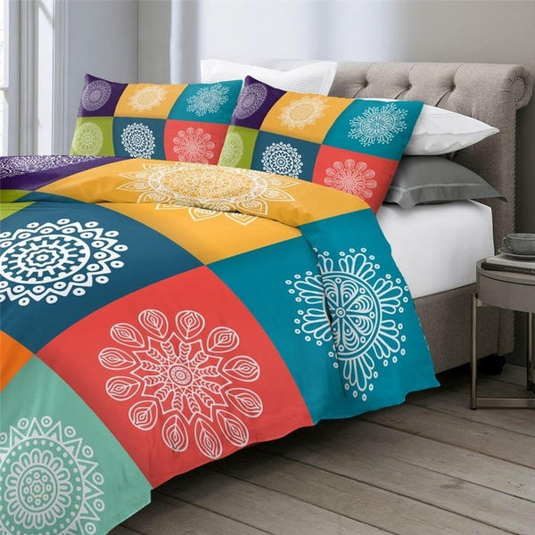 Colorful Checked Multi Mandala Design Duvet Cover Set-TipTopHomeDecor
