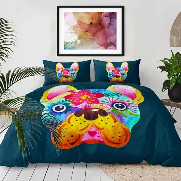 Colorful Flower French Bulldog Duvet Cover Set-TipTopHomeDecor