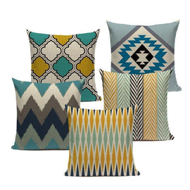 Colorful Modern Nordic Geometric Yellow Turquoise Pillow Covers-Tiptophomedecor