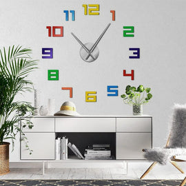 Colorful Numbers 3D Wall Clock Decal-TipTopHomeDecor