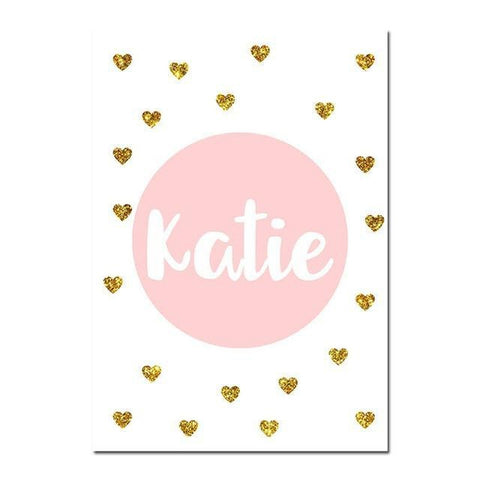 Custom Name Girls Pink Nursery Wall Art Canvas Prints-Tiptophomedecor-Interior-Design-Home-Decor