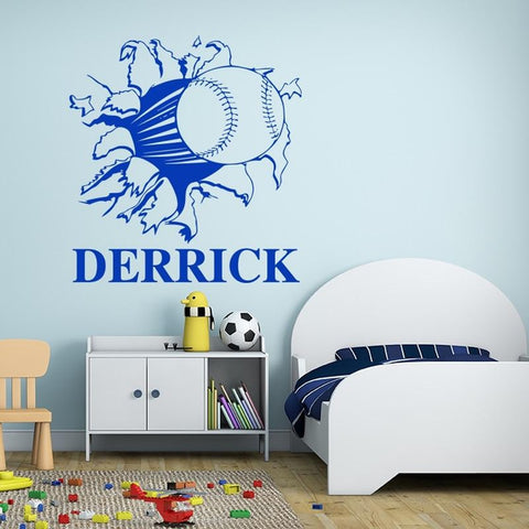 Custom Name Baseball Softball Through Wall Decal-Tiptophomedecor-Interior-Design-Home-Decor