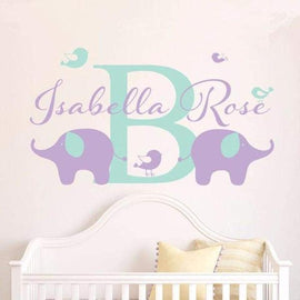 Tiptophomedecor Custom Name Elephant Decal