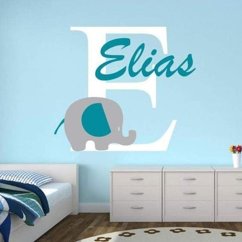 Tiptophomedecor Custom Name Elephant Sticker