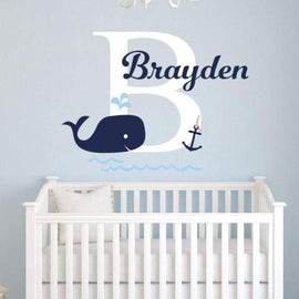 Tiptophomedecor Custom Name Whale Sticker