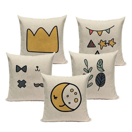 Cute Simple Moon Stars Cartoon Pillow Covers-TipTopHomeDecor
