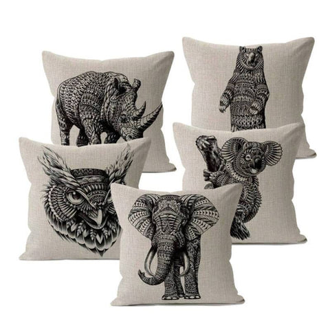 Animal Sketch Pillow Covers