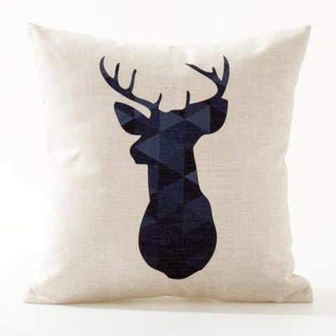 Dark Blue Turquoise Red Nordic Animal Quote Cushion Covers-Tiptophomedecor