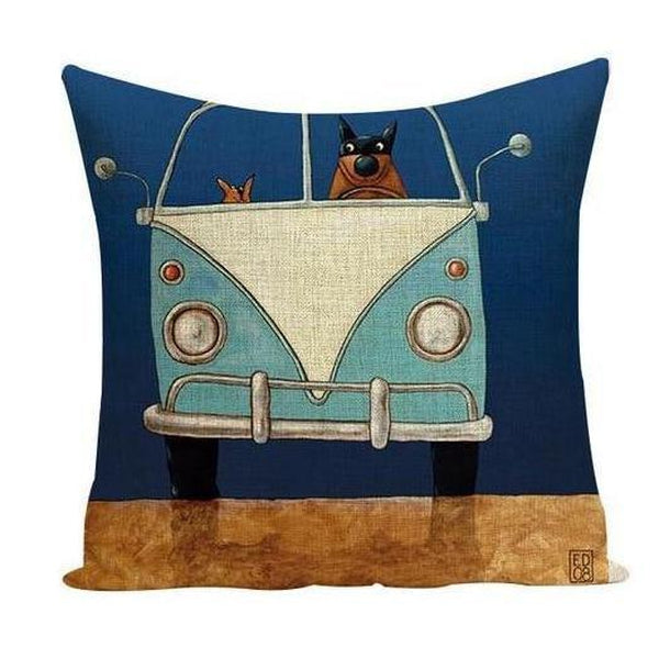 Cartoon Dog Cat Driving Car Vintage Throw Pillow Cases-Tiptophomedecor-Interior-Design-Home-Decor