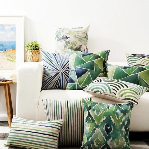 Green Geometric Pillow Covers