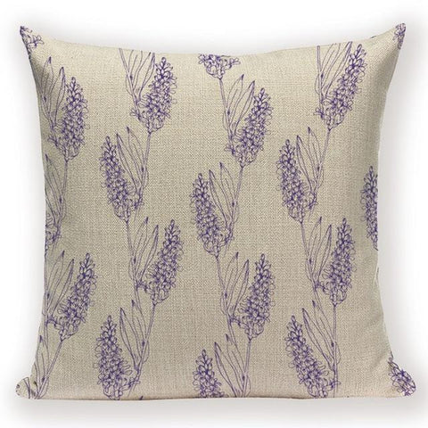 Elegant Lavender Plant Flower Cushion Covers Pillowcases Home Decor