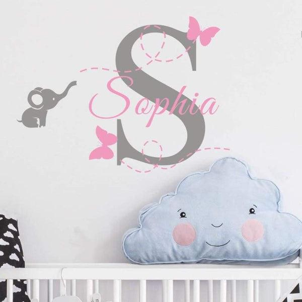 Tiptophomedecor Elephant Custom Name Decal