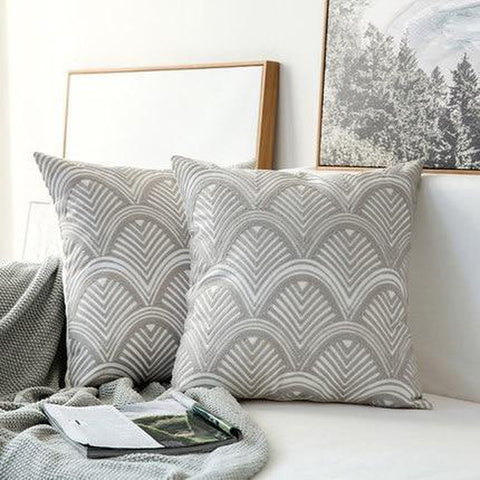Embroidered Light Grey Geometric Pattern Cushion Covers-Tiptophomedecor-Interior-Design-Home-Decor