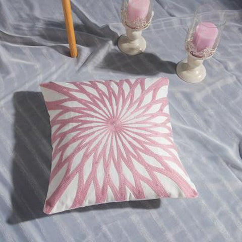 Embroidered Soft Pink Geometric Throw Pillow Cases-Tiptophomedecor