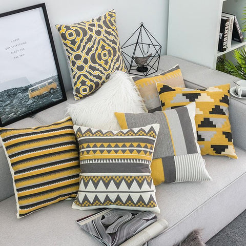 Embroidered Yellow Grey Geometric Throw Pillow Cases-Tiptophomedecor-Interior-Design-Home-Decor