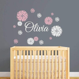 Tiptophomedecor Flower Custom Name Decal