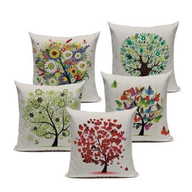 Flower Tree Botanical Colorful Linen Cushion Covers-TipTopHomeDecor
