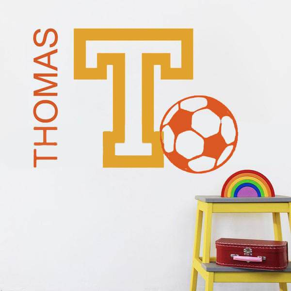 Soccer Football Personalized Initial Name Wall Decal-Tiptophomedecor-Interior-Design-Home-Decor