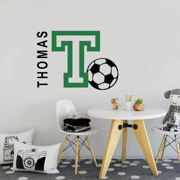 befe985b18 Soccer Football Personalized Initial Name Wall  Decal-Tiptophomedecor-Interior-Design-Home-