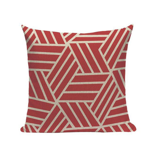 Funky Coral Red Abstract Geometric Throw Pillow Cases-Tiptophomedecor-Interior-Design-Home-Decor