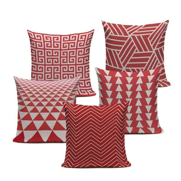 Funky Coral Red Abstract Geometric Sofa Throw Pillow Cases Tiptophomedecor