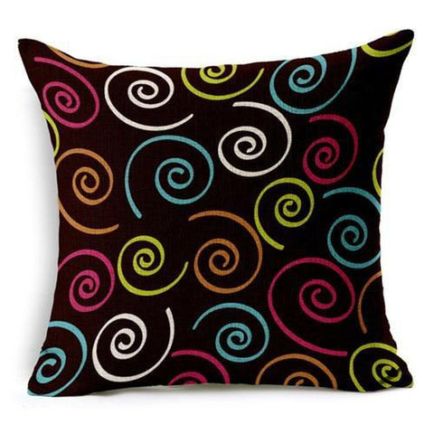 Funky Retro Circles Stripes Bright Colors Cushion Covers-Tiptophomedecor