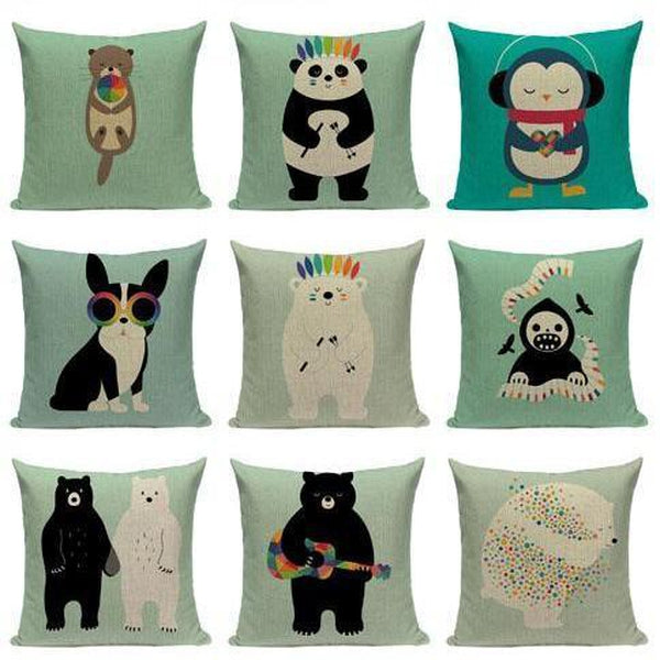 Funny Cartoon Animal Light Blue Cushion Covers-Tiptophomedecor