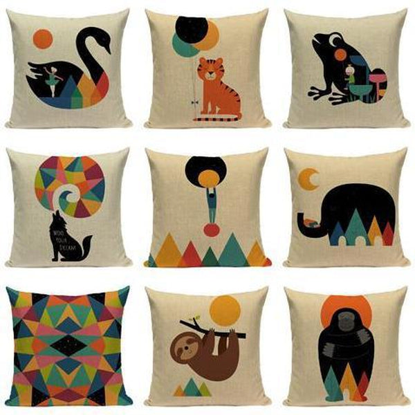 Geometric Abstract Nordic Animal Pillow Cases-Tiptophomedecor
