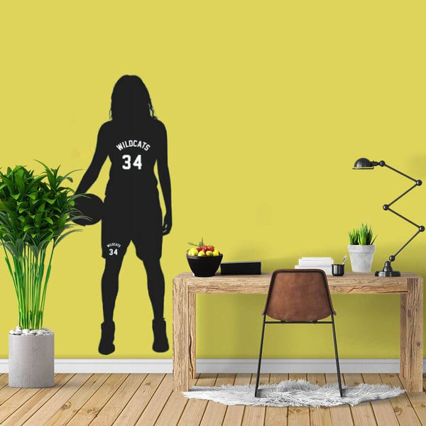 Girl Basketball Custom Name Sticker-Tiptophomedecor-Interior-Design-Home-Decor