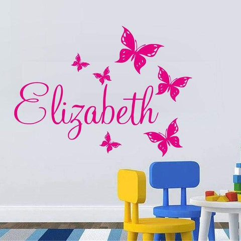 Tiptophomedecor Girls Name Butterflies Decal