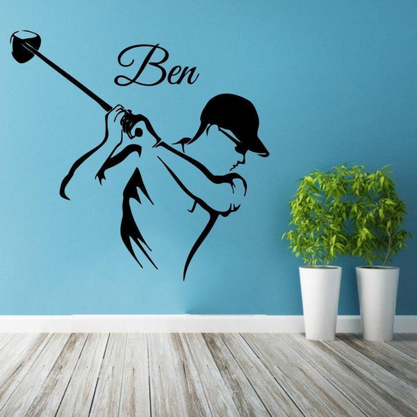 Golf Player Custom Name Decal Wall Sticker Decal Home Decor ...