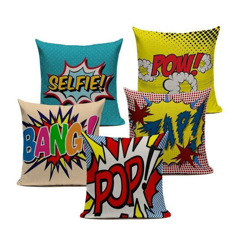 Graffiti Pop Wow Selfie Bang Words Cushion Covers-Tiptophomedecor