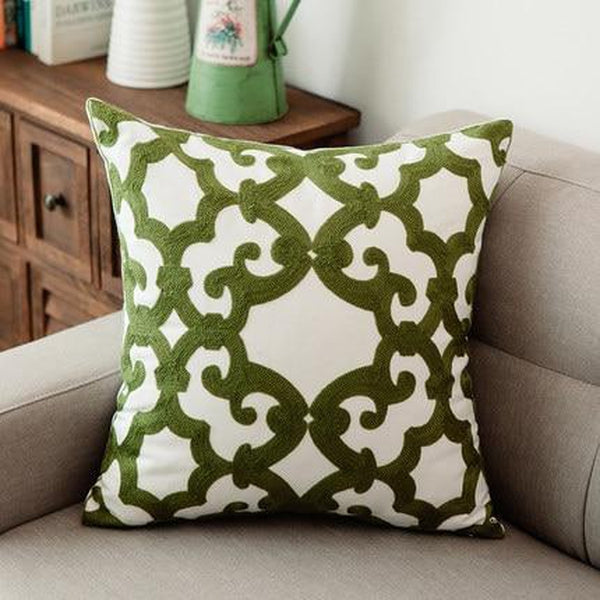 Green Geometric Embroidered Cotton Pillow Covers-Tiptophomedecor-Interior-Design-Home-Decor