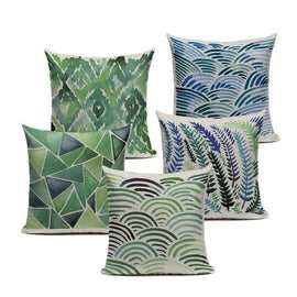 Tiptophomedecor Green Geometric Pillow Covers