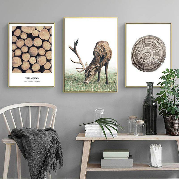 Green Leaf Tree Wood Nordic Landscape Canvas Art Prints-TipTopHomeDecor