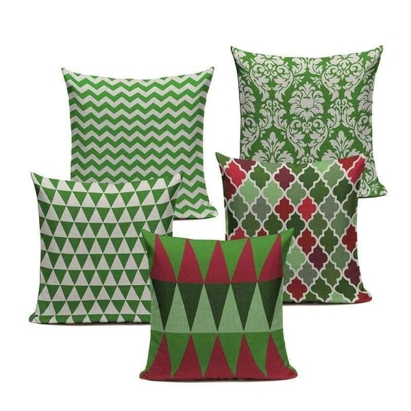 Green Red Retro Cushion Covers-TipTopHomeDecor