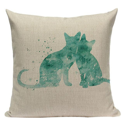 Green Teal Turquoise Watercolor Ink Pillow Cases-Tiptophomedecor-Interior-Design-Home-Decor
